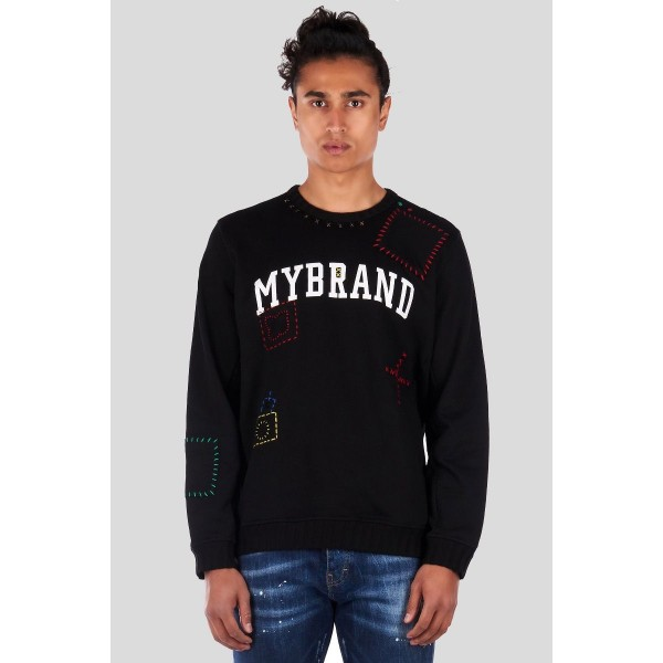 -H19 MY BRAND SWEAT STITCHED THIRTEEN BLACK